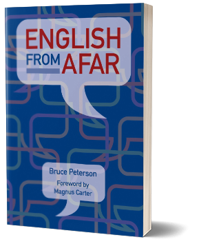 English from Afar book upright on table